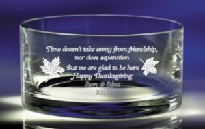Engraved Glass Bowl as a Thanksgiving Gift