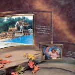 engraved curved glass picture frame