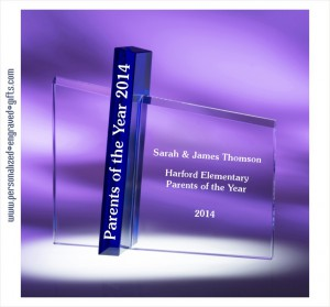 Engraved Award Celebrating Parents of the Year