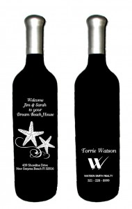 engraved front and back realty wine bottle
