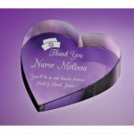 engraved pure optical crystal heart paperweight