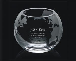 Engraved Crystal Bowl with Globe