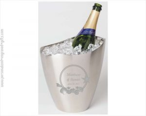 Engraved Oval Stainless Steel Ice Bucket