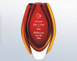 Romantic Red Art Glass Vase