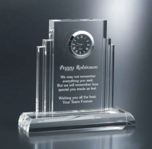 Engraved Crystal Clock Retirement Gift