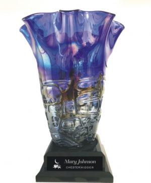Engraved Art Glass Vase Retirement GIft
