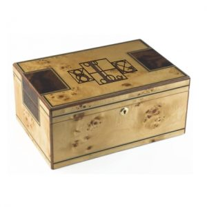 Personalized Humidor with Walnut inlay humidor