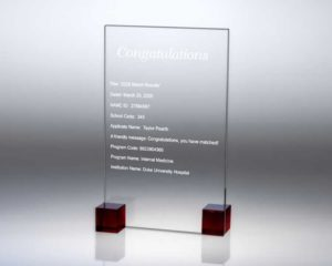 Engraved Glass Plaque with Match Day Letter