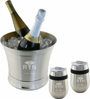Engraved Stainless Steel Ice Bucket with glasses RN Graduation Gifts
