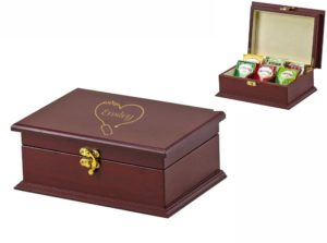 Engraved Wooden Tea Box