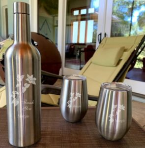 Engraved Stainless Steel Wine Flask with 2 stemless wine glasses