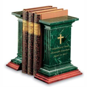 engraved green marble bookends
