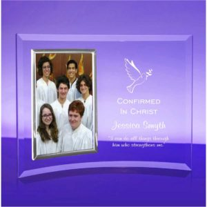 curved glass picture frame engraved with confirmation text